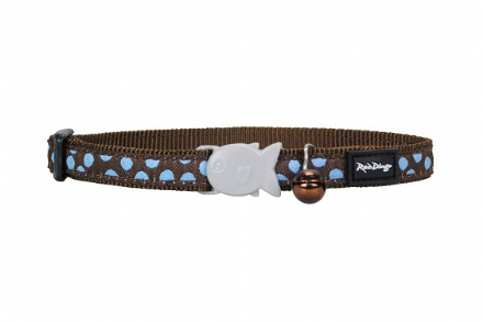 Red Dingo Cat collar Blue Spots on Brown